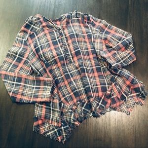 Free People Plaid Hooded Henley
